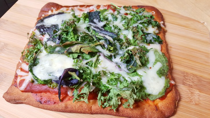 Flatbread with Asian Spicy Mixed Greens